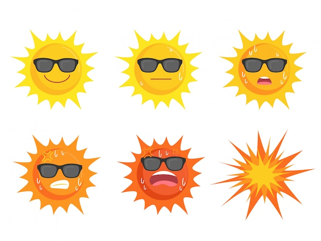 Sun wearing eyes glasses collection Premium Vector