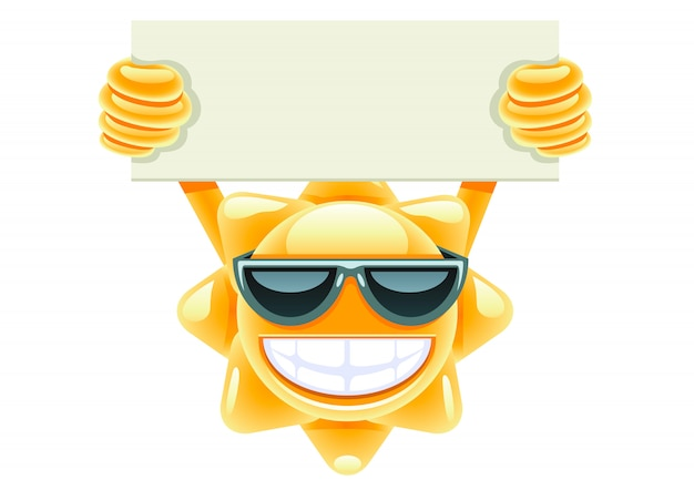 Sun with paper for message Premium Vector