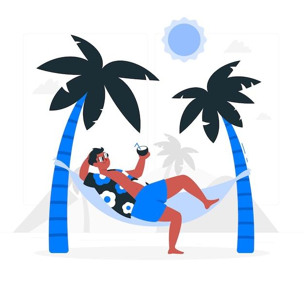 ハンモックの概念図で日光浴 無料ベクター