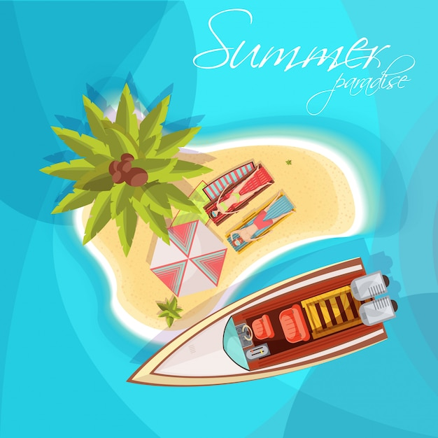 Sunbathers on island composition top view with motorboat umbrella palm tree on blue sea background vector illustration Free Vector
