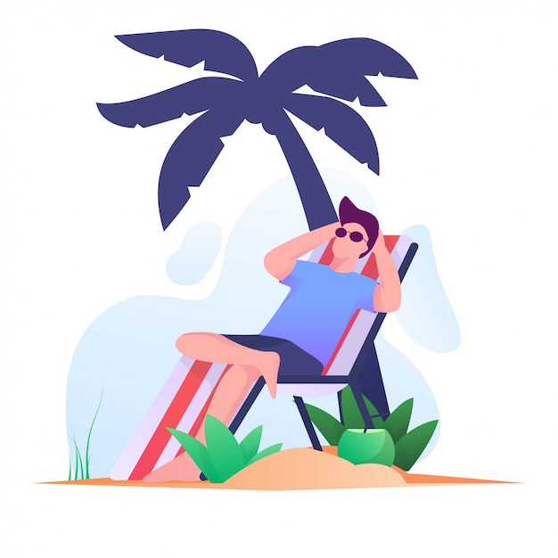 Sunbathing men on the beach flat illustration Premium Vector