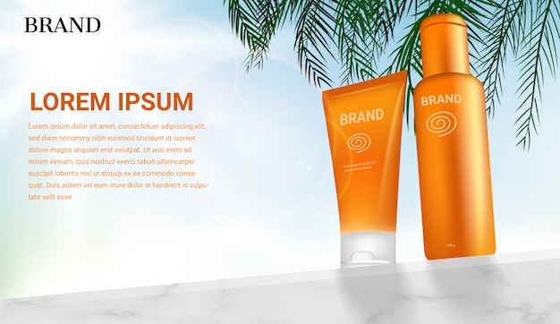 Sunblock cosmetic products on marble wall with coconut leaves on shining light sky background Premium Vector