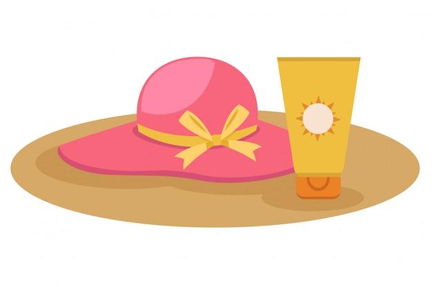 Sunblock cream with hat Premium Vector
