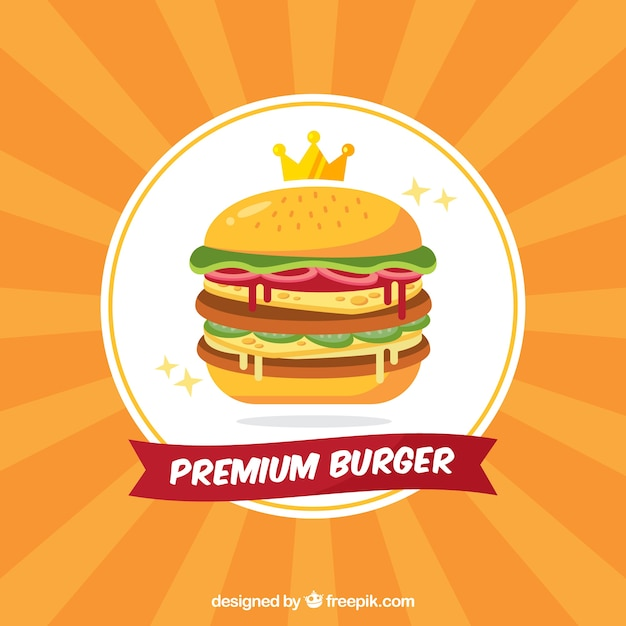 Sunburst background of premium burger Vector | Free Download