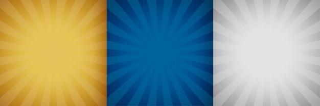 Санберст фон набор из трех цветов Бесплатные векторы