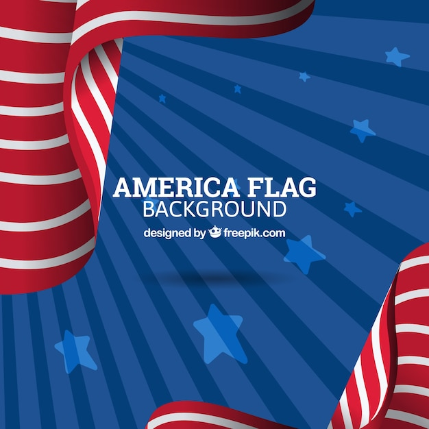 Sunburst background with abstract american flag