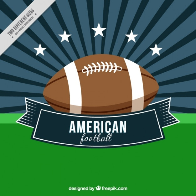 Sunburst background with american football\ ball