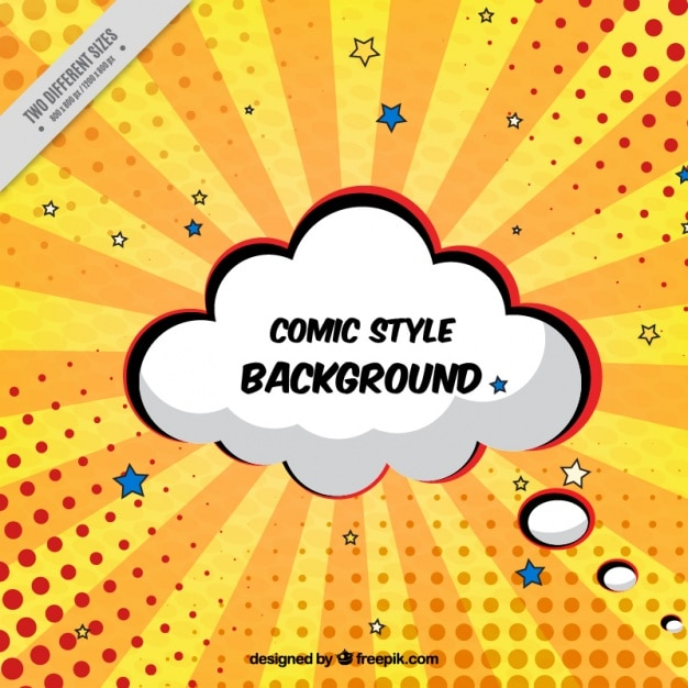 Sunburst Background With Cloud Comic Vector Free Download