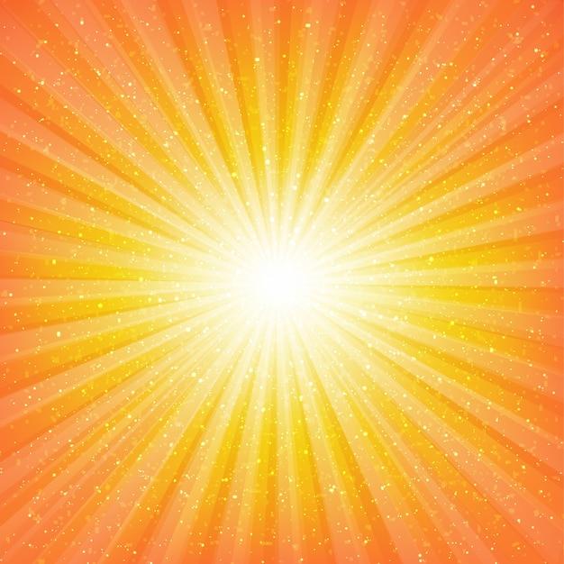 Sunburst background with stars with gradient mesh,  illustration Premium Vector