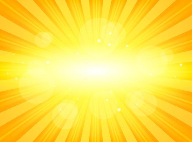 밝은 추상 배경의 빛나는 광선으로 햇살 밝은 노란색 프리미엄 벡터