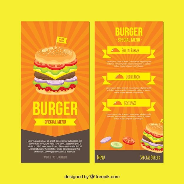 Sunburst Burger Menu Template Vector