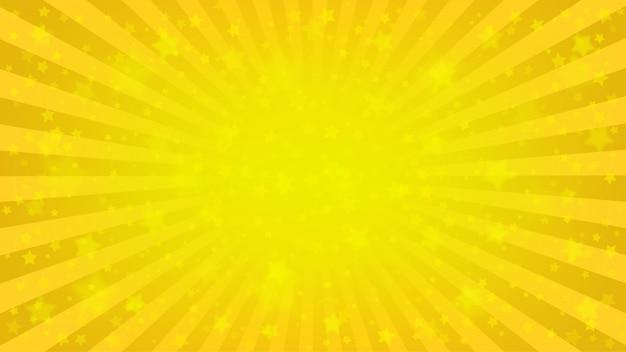 Ярко-желтые лучи фон, много звезд. sunburst comics, стиль поп-арт Premium векторы