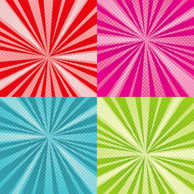 Sunburst rays comic pop art vector backgrounds set Premium Vector