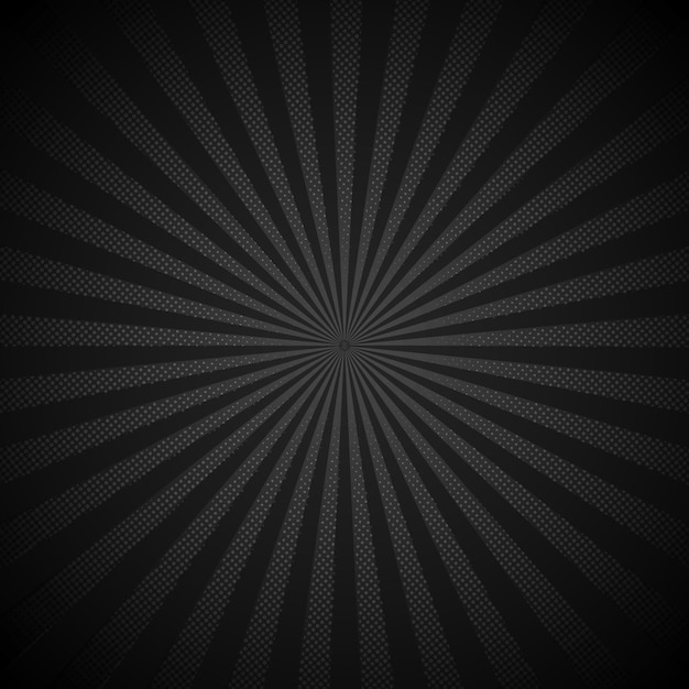 Sunburst retro shiny black background Premium Vector