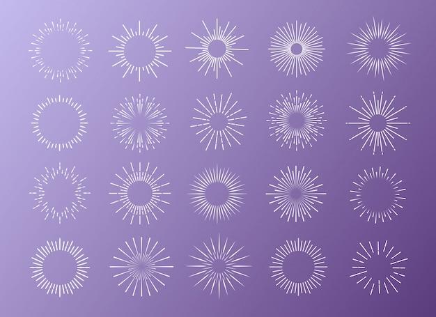햇살 로고에 대 한 배경에 고립 된 화이트 색상 설정 프리미엄 벡터