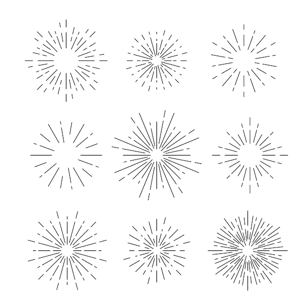 Sunburst vector set on white Free Vector