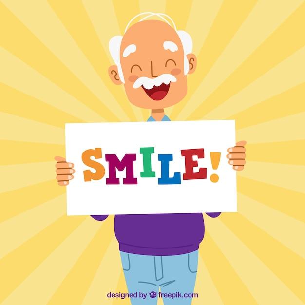 Sunburst фоне улыбается старший человек Бесплатные векторы