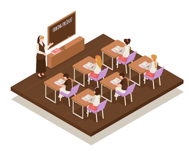 Insegnante isometrico della composizione nella scuola della domenica vicino al bordo e bambini agli scrittori durante l'illustrazione di lezione religiosa Vettore gratuito