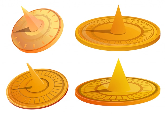 Sundial set. cartoon set of sundial Premium Vector