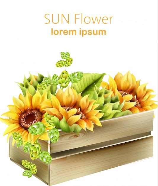 木箱にひまわりと緑のアーティチョーク。水彩春ベクトル 無料ベクター