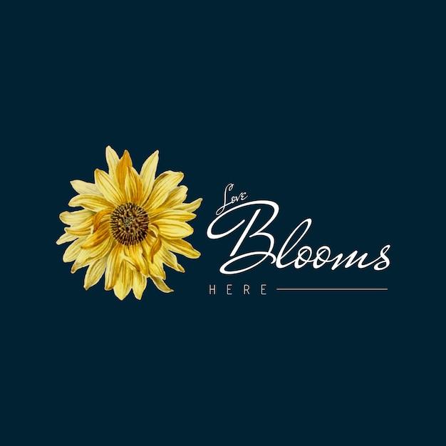 Sunflower blossom badge Free Vector