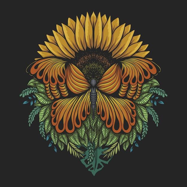 Sunflower butterfly illustration Premium Vector