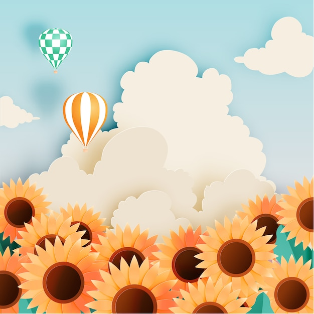 Sunflower field with paper art style Premium Vector