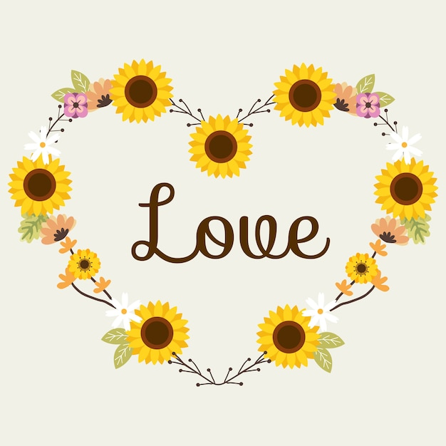 The sunflower for flower wreath or flowerring look like heart in flat vector style. Premium Vector