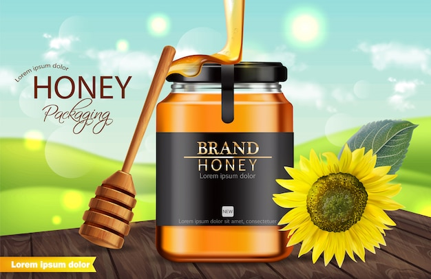 Sunflower and honey jar banner Premium Vector