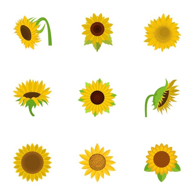 Sunflower icons set, cartoon style Premium Vector