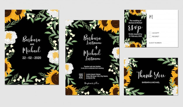 Sunflower and lily of the valley wedding template Premium Vector