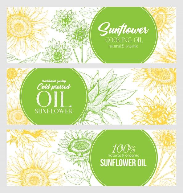 Sunflower oil hand drawn banner Free Vector