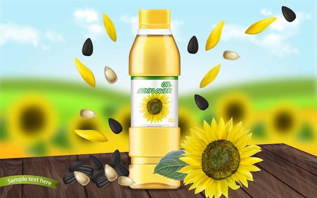 Sunflower oil realistic Premium Vector