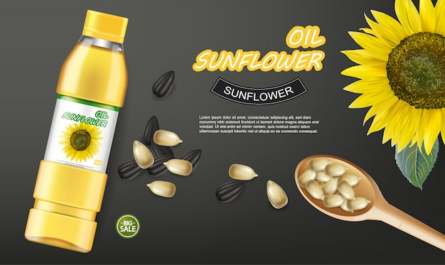 Sunflower seeds oil banner Premium Vector