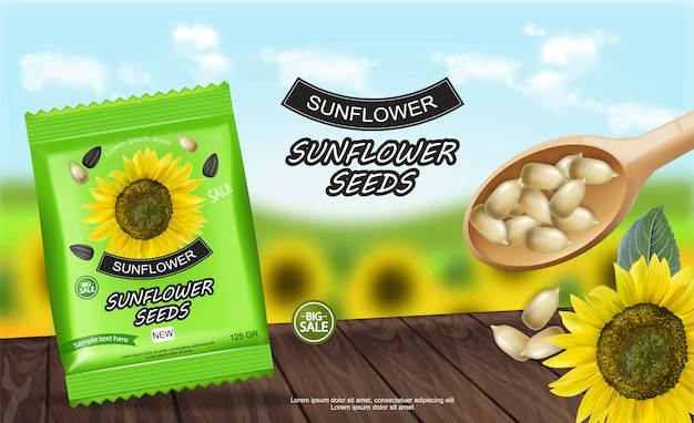 Sunflower seeds package banner Premium Vector