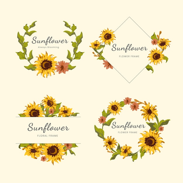Sunflower wreath and badge vector set Free Vector