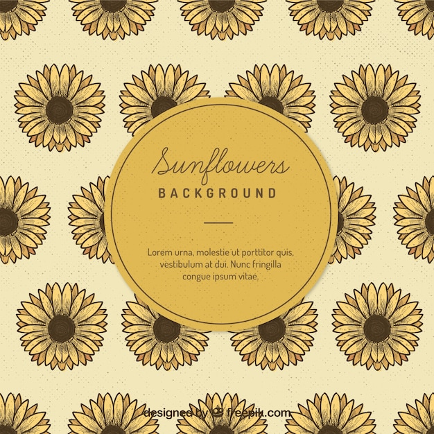 Sunflowers Background Free Vector