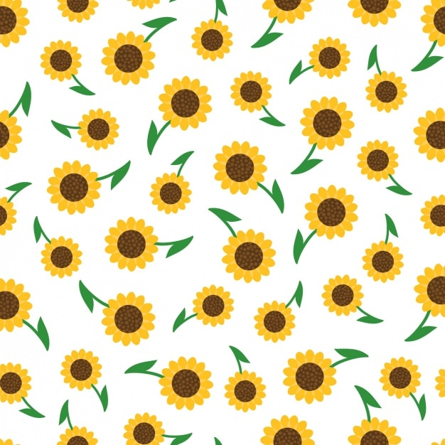 Sunflowers Pattern Design Free Vector