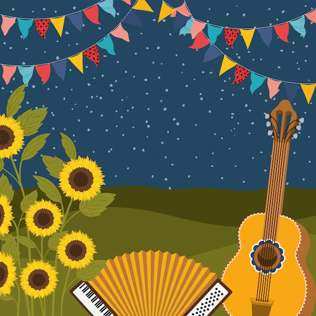 Sunflowers with music instruments and garlands Premium Vector