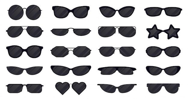 Солнцезащитные очки очки. очки силуэт, солнцезащитные элегантные очки, черные пластиковые очки. установленные значки иллюстрации очков объектива солнця. защита изделия от солнца, коллекция линз для очков Premium векторы