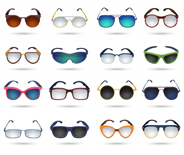 Sunglasses fashion reflection mirror icons set Free Vector