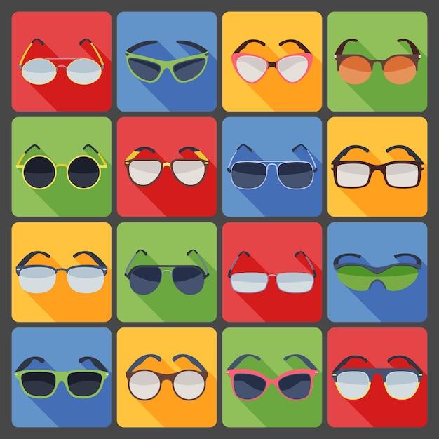 Sunglasses glasses fashion flat icons set Free Vector