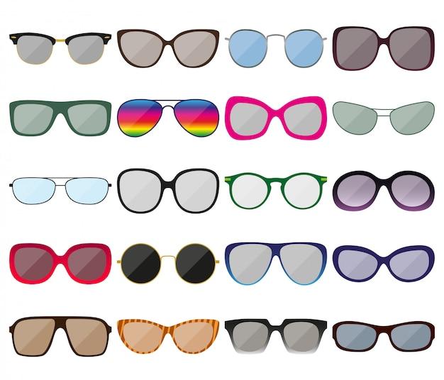 サングラスのアイコンを設定します。色付きの眼鏡フレーム。さまざまな形。図 Premiumベクター