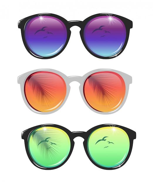 Солнцезащитные очки иллюстрации Premium векторы
