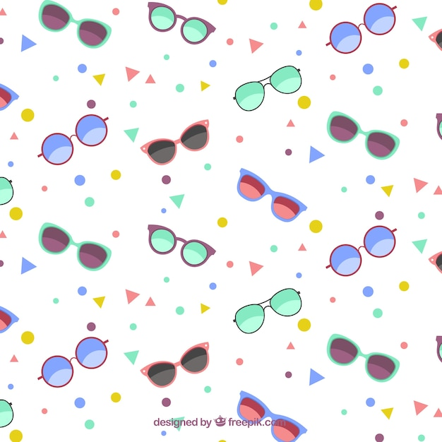 Sunglasses pattern with geometric shapes Free Vector