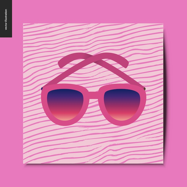 Sunglasses On The Pink Card Vector