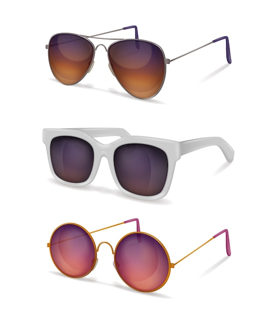 Sunglasses realistic set with different models of sun goggles with metal and plastic frames with shadows Free Vector