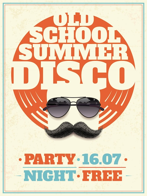 Sunglasses retro poster Free Vector