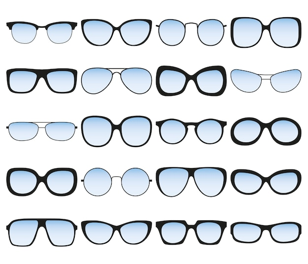 Sunglasses set. different spectacle frames and shapes. Premium Vector