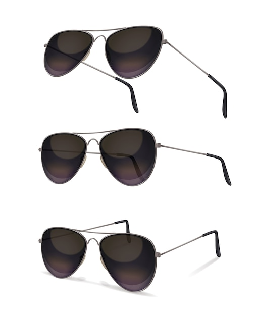 Sunglasses set with realistic images of aviator sunglasses from various angles with shadows on blank background Free Vector